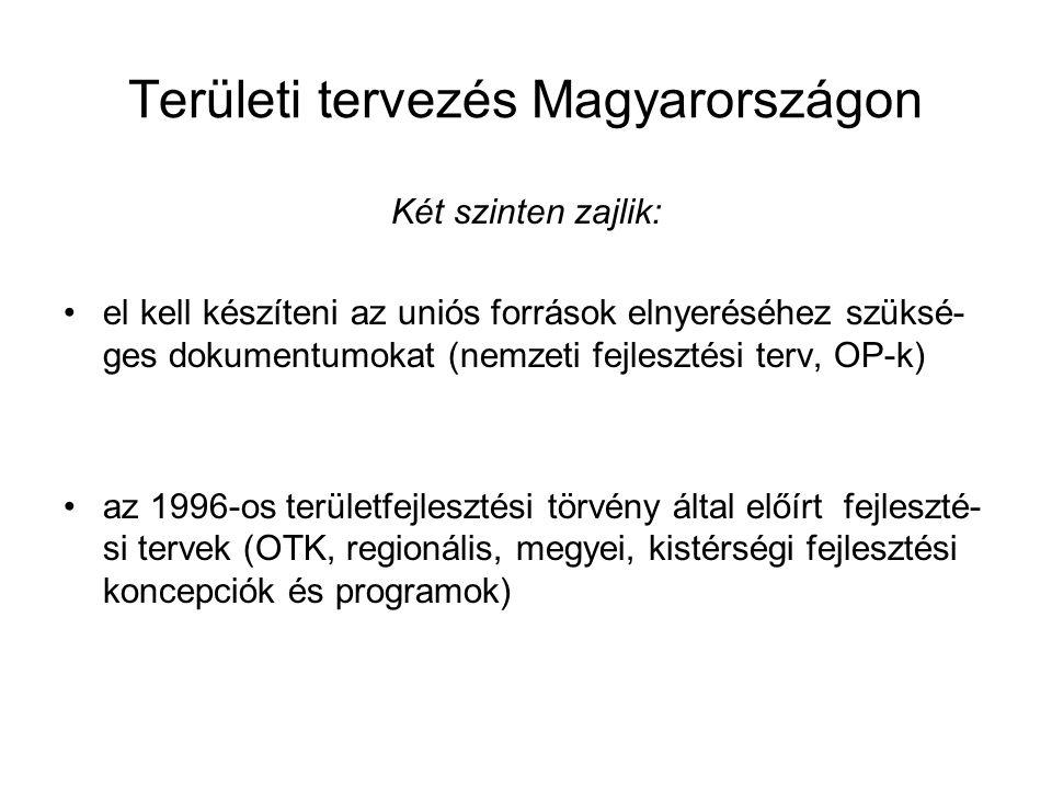 Területi tervezés Magyarországon Két szinten zajlik: el kell készíteni az uniós források elnyeréséhez szüksé- ges dokumentumokat (nemzeti fejlesztési