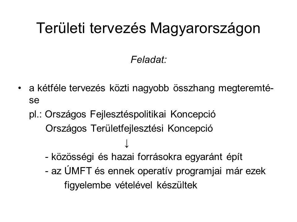 Területi tervezés Magyarországon Feladat: a kétféle tervezés közti nagyobb összhang megteremté- se pl.: Országos Fejlesztéspolitikai Koncepció Országo