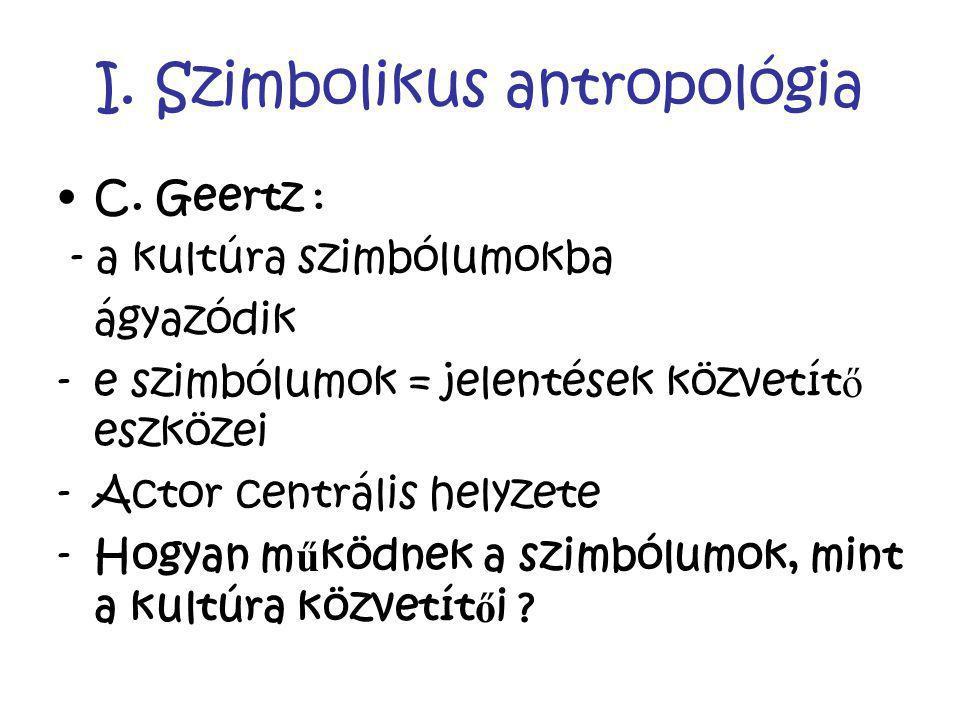 I. Szimbolikus antropológia C. Geertz : - a kultúra szimbólumokba ágyazódik -e szimbólumok = jelentések közvetít ő eszközei -Actor centrális helyzete
