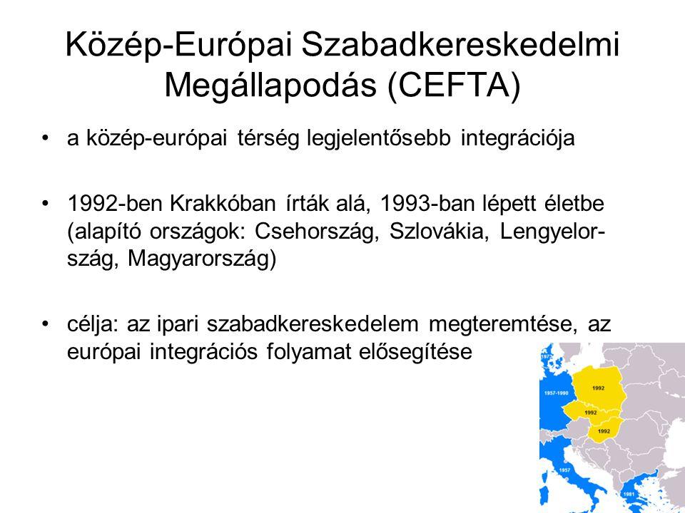 Közép-Európai Szabadkereskedelmi Megállapodás (CEFTA) a közép-európai térség legjelentősebb integrációja 1992-ben Krakkóban írták alá, 1993-ban lépett