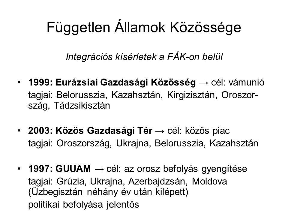 Független Államok Közössége Integrációs kísérletek a FÁK-on belül 1999: Eurázsiai Gazdasági Közösség → cél: vámunió tagjai: Belorusszia, Kazahsztán, K