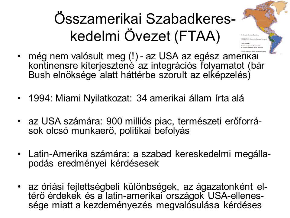 Összamerikai Szabadkeres- kedelmi Övezet (FTAA) még nem valósult meg (!) - az USA az egész amerikai kontinensre kiterjesztené az integrációs folyamato