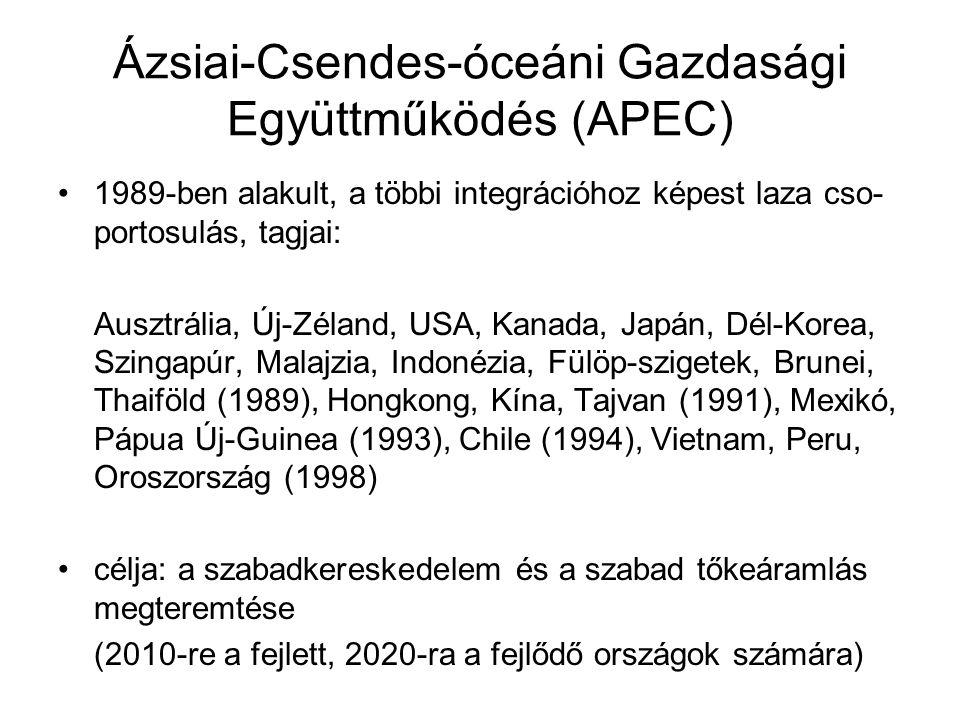 Ázsiai-Csendes-óceáni Gazdasági Együttműködés (APEC) 1989-ben alakult, a többi integrációhoz képest laza cso- portosulás, tagjai: Ausztrália, Új-Zélan