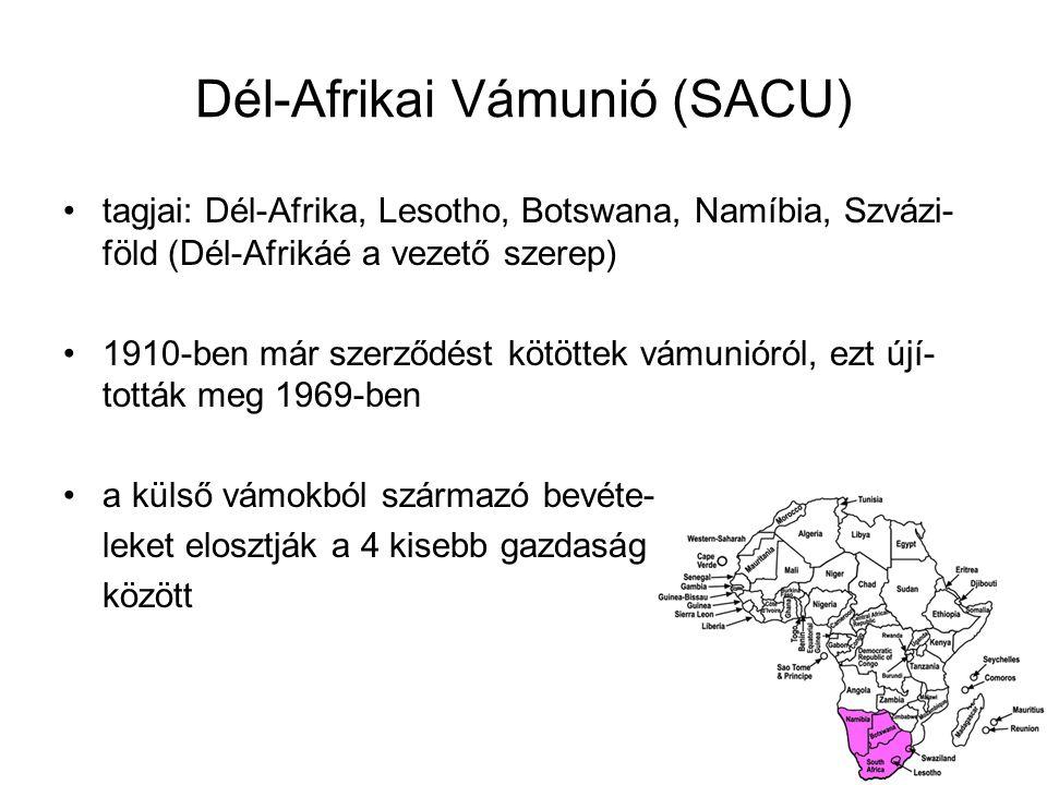 Dél-Afrikai Vámunió (SACU) tagjai: Dél-Afrika, Lesotho, Botswana, Namíbia, Szvázi- föld (Dél-Afrikáé a vezető szerep) 1910-ben már szerződést kötöttek