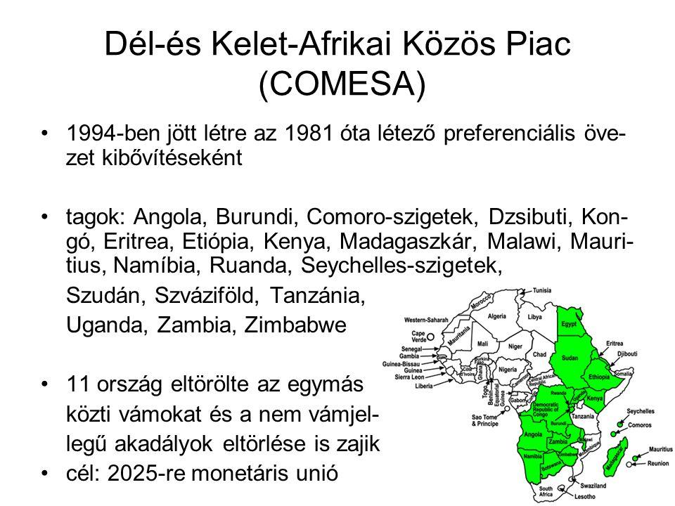 Dél-és Kelet-Afrikai Közös Piac (COMESA) 1994-ben jött létre az 1981 óta létező preferenciális öve- zet kibővítéseként tagok: Angola, Burundi, Comoro-
