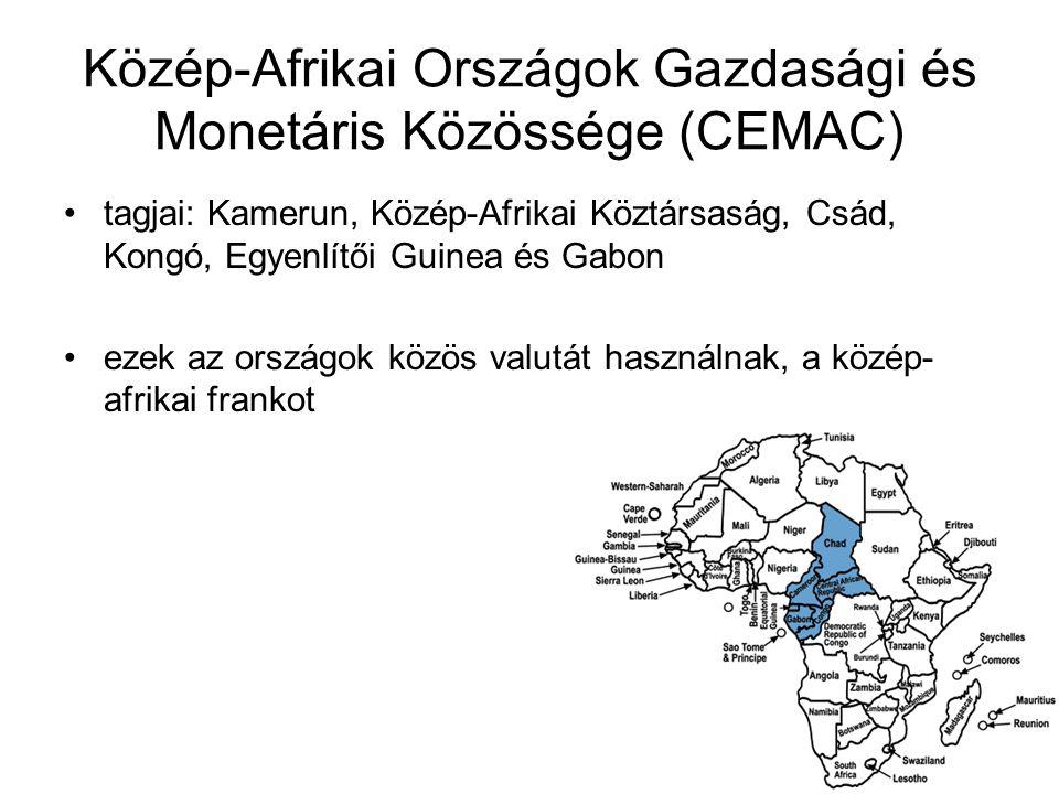 Közép-Afrikai Országok Gazdasági és Monetáris Közössége (CEMAC) tagjai: Kamerun, Közép-Afrikai Köztársaság, Csád, Kongó, Egyenlítői Guinea és Gabon ez
