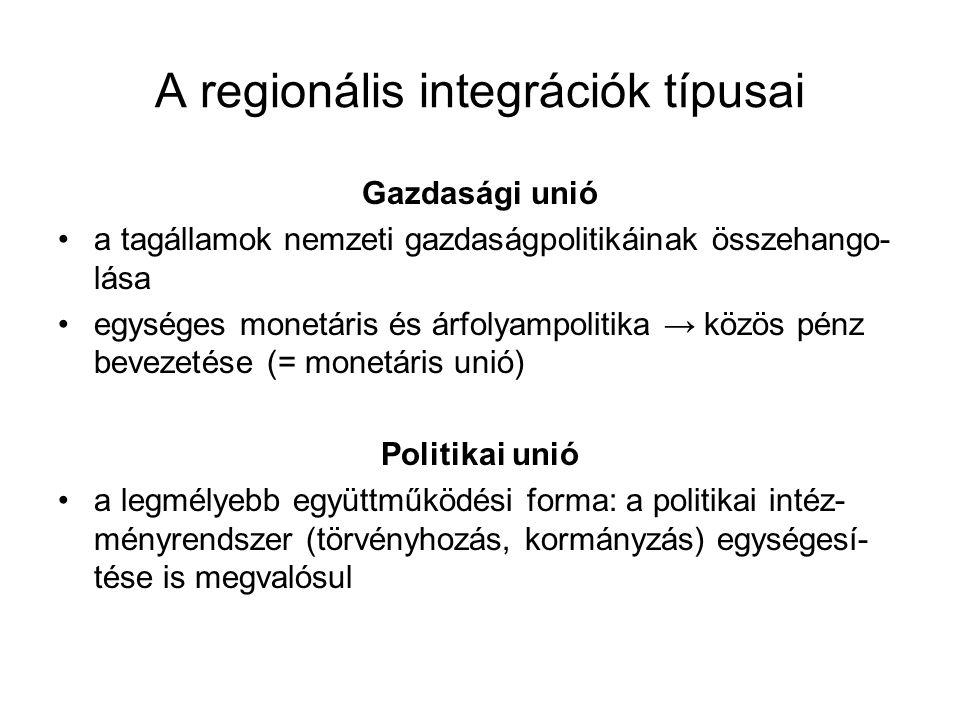 A regionális integrációk típusai Gazdasági unió a tagállamok nemzeti gazdaságpolitikáinak összehango- lása egységes monetáris és árfolyampolitika → kö