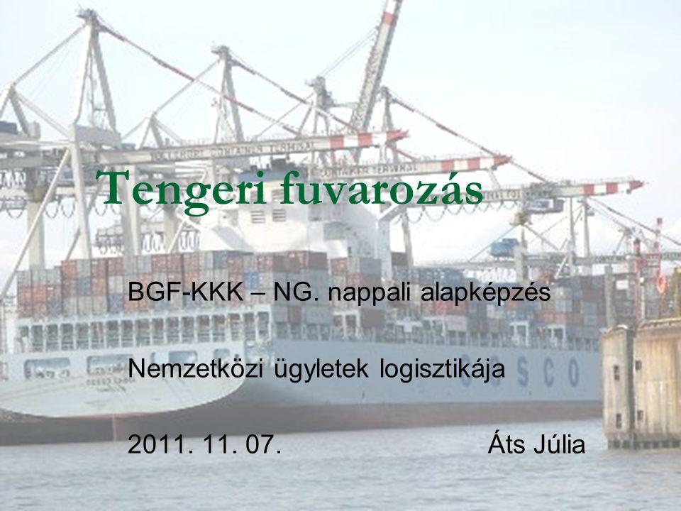 Tengeri fuvarozás BGF-KKK – NG. nappali alapképzés Nemzetközi ügyletek logisztikája 2011. 11. 07. Áts Júlia
