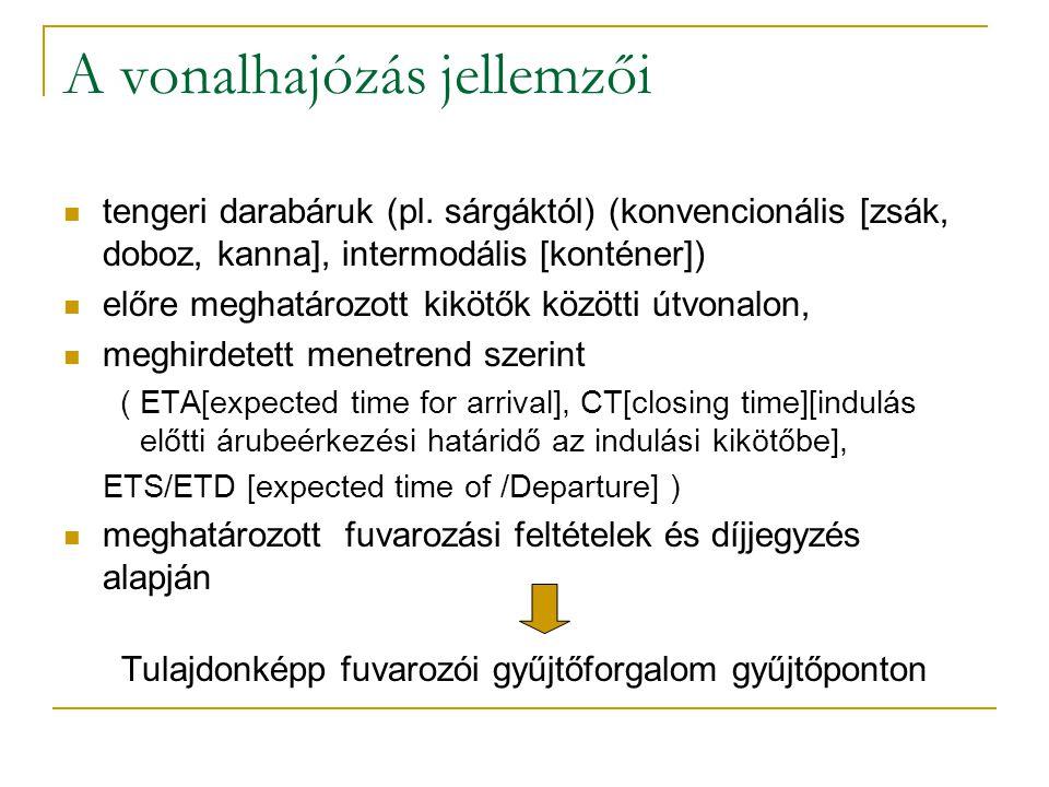 A vonalhajózás jellemzői tengeri darabáruk (pl. sárgáktól) (konvencionális [zsák, doboz, kanna], intermodális [konténer]) előre meghatározott kikötők