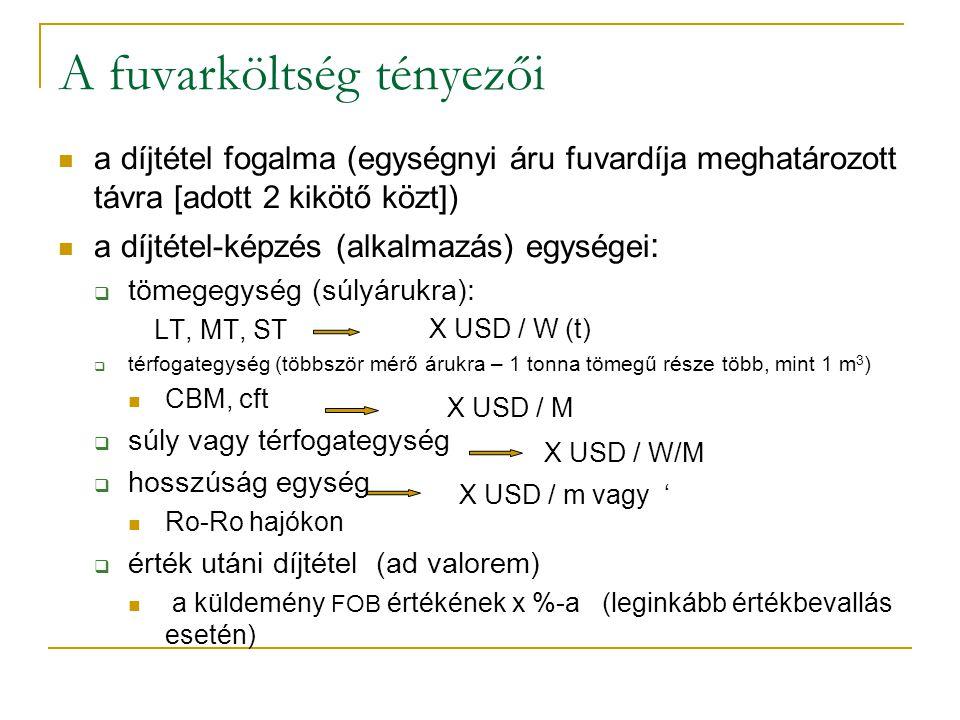 A fuvarköltség tényezői a díjtétel fogalma (egységnyi áru fuvardíja meghatározott távra [adott 2 kikötő közt]) a díjtétel-képzés (alkalmazás) egységei