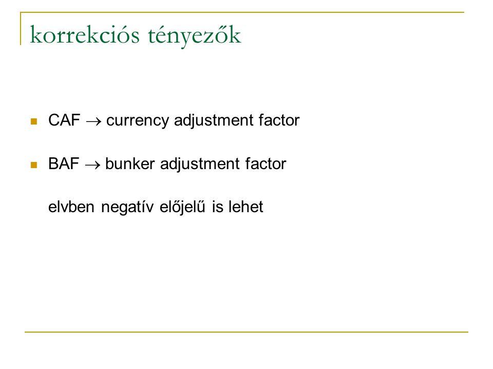 korrekciós tényezők CAF  currency adjustment factor BAF  bunker adjustment factor elvben negatív előjelű is lehet