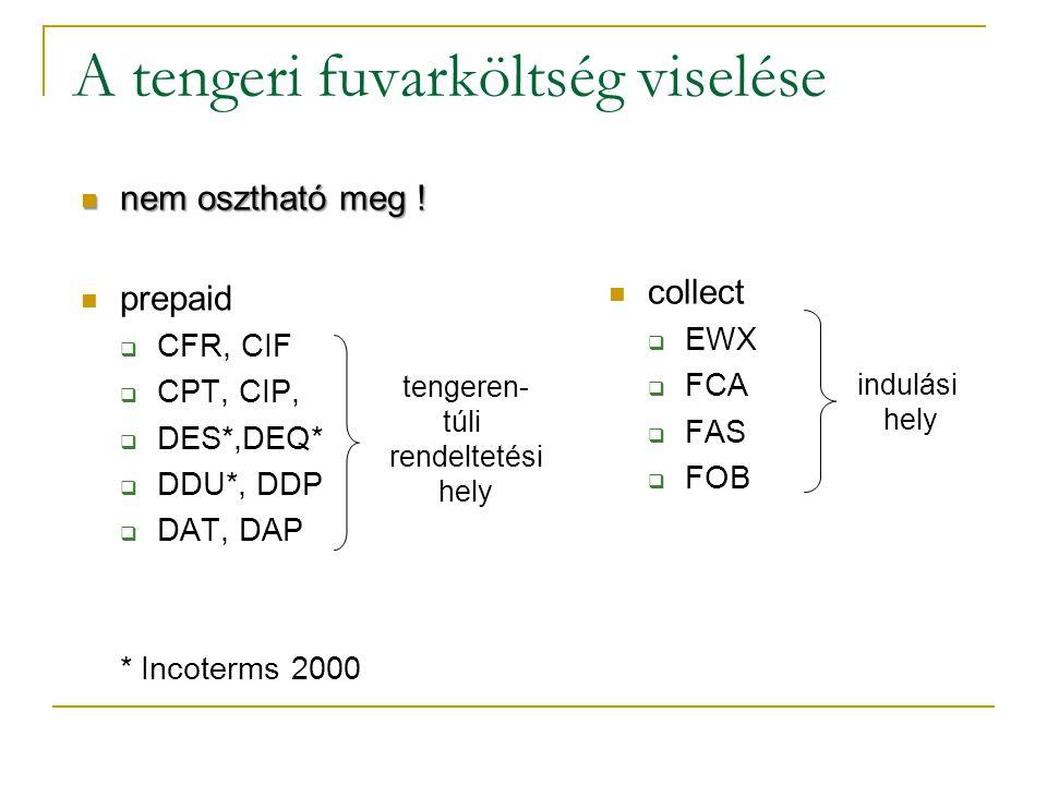 A tengeri fuvarköltség viselése nem osztható meg ! nem osztható meg ! prepaid  CFR, CIF  CPT, CIP,  DES*,DEQ*  DDU*, DDP  DAT, DAP * Incoterms 20