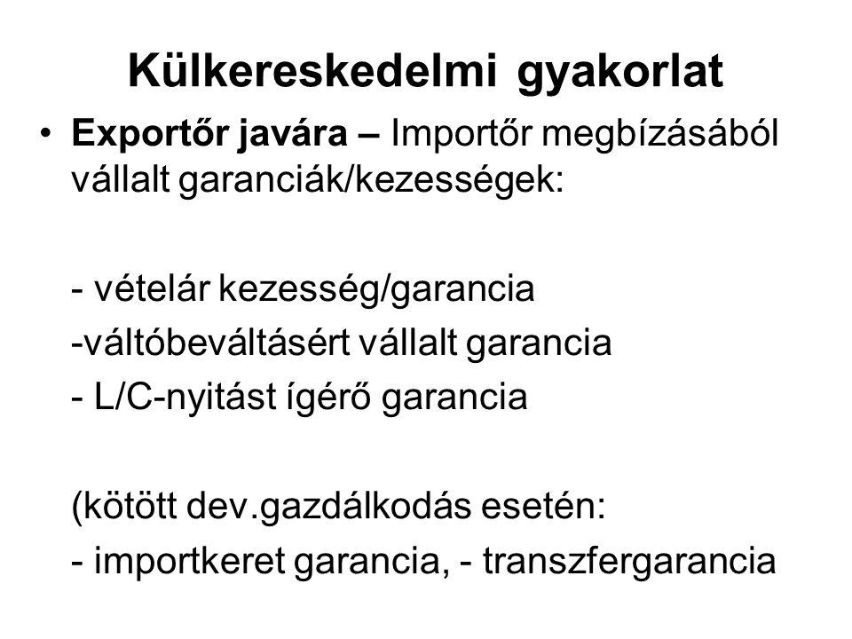 Külkereskedelmi gyakorlat Exportőr javára – Importőr megbízásából vállalt garanciák/kezességek: - vételár kezesség/garancia -váltóbeváltásért vállalt garancia - L/C-nyitást ígérő garancia (kötött dev.gazdálkodás esetén: - importkeret garancia, - transzfergarancia