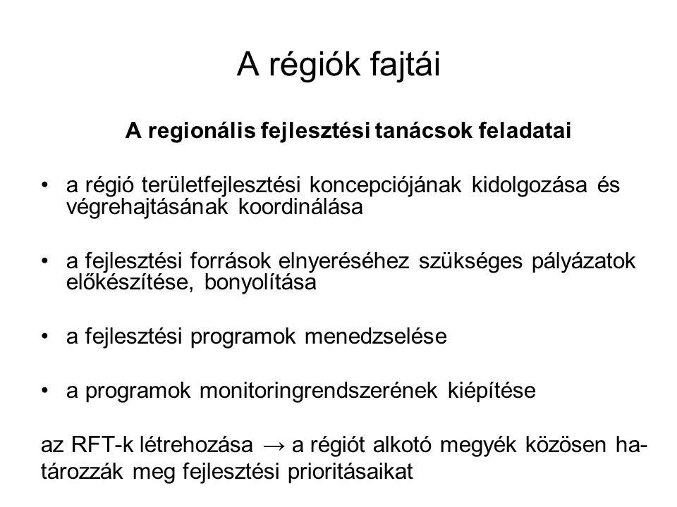 A régiók fajtái A regionális fejlesztési tanácsok feladatai a régió területfejlesztési koncepciójának kidolgozása és végrehajtásának koordinálása a fejlesztési források elnyeréséhez szükséges pályázatok előkészítése, bonyolítása a fejlesztési programok menedzselése a programok monitoringrendszerének kiépítése az RFT-k létrehozása → a régiót alkotó megyék közösen ha- tározzák meg fejlesztési prioritásaikat