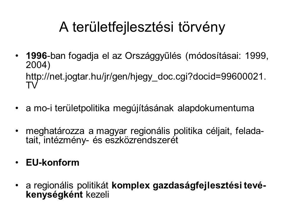 A területfejlesztési törvény 1996-ban fogadja el az Országgyűlés (módosításai: 1999, 2004) http://net.jogtar.hu/jr/gen/hjegy_doc.cgi?docid=99600021.