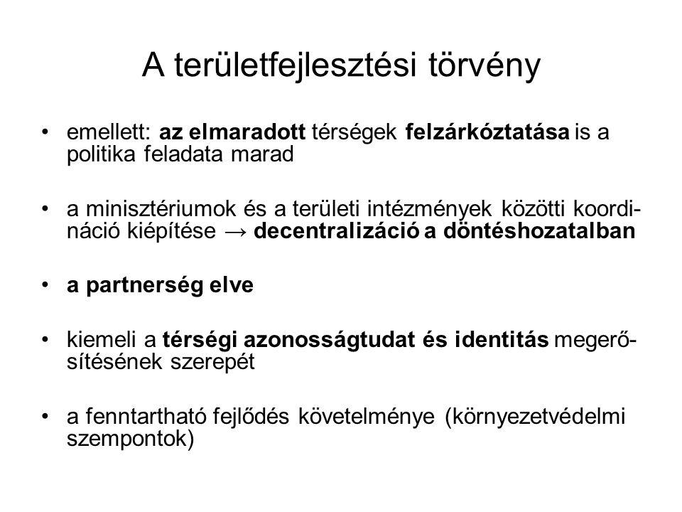 A területfejlesztési törvény emellett: az elmaradott térségek felzárkóztatása is a politika feladata marad a minisztériumok és a területi intézmények közötti koordi- náció kiépítése → decentralizáció a döntéshozatalban a partnerség elve kiemeli a térségi azonosságtudat és identitás megerő- sítésének szerepét a fenntartható fejlődés követelménye (környezetvédelmi szempontok)