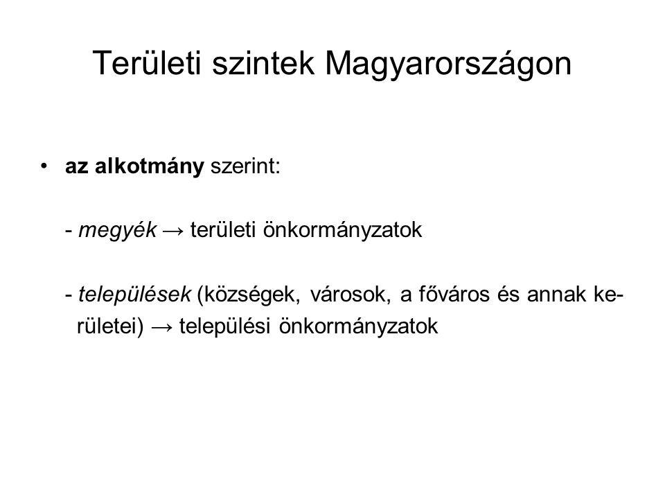 Területi szintek Magyarországon az alkotmány szerint: - megyék → területi önkormányzatok - települések (községek, városok, a főváros és annak ke- rületei) → települési önkormányzatok