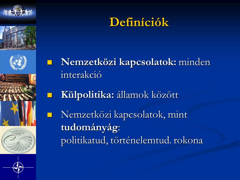 Definíciók Nemzetközi kapcsolatok: minden interakció Nemzetközi kapcsolatok: minden interakció Külpolitika: államok között Külpolitika: államok között Nemzetközi kapcsolatok, mint tudományág: politikatud, történelemtud.