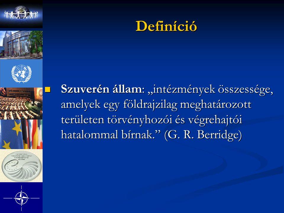 """Definíció Definíció Szuverén állam: """"intézmények összessége, amelyek egy földrajzilag meghatározott területen törvényhozói és végrehajtói hatalommal bírnak. (G."""