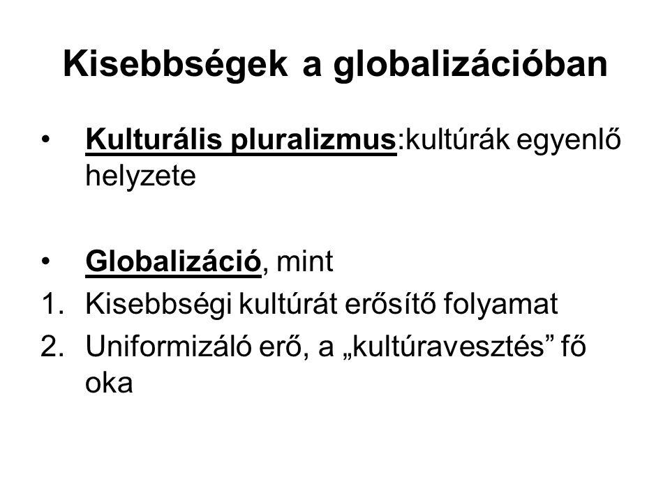 Kisebbségek a globalizációban Kulturális pluralizmus:kultúrák egyenlő helyzete Globalizáció, mint 1.Kisebbségi kultúrát erősítő folyamat 2.Uniformizál