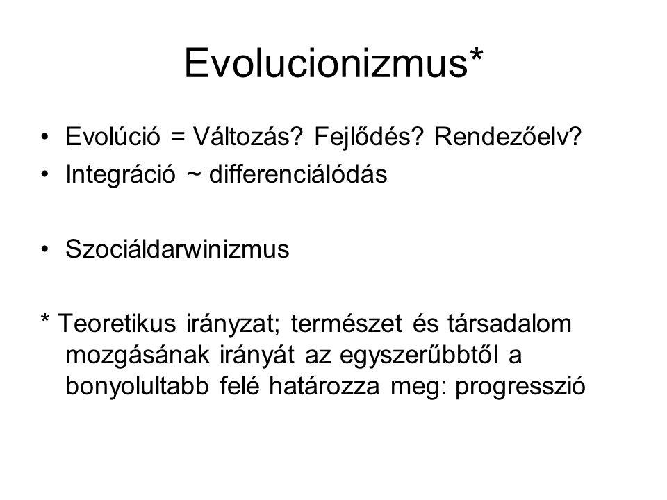 Evolucionizmus* Evolúció = Változás. Fejlődés. Rendezőelv.