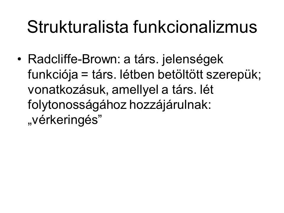 Strukturalista funkcionalizmus Radcliffe-Brown: a társ.