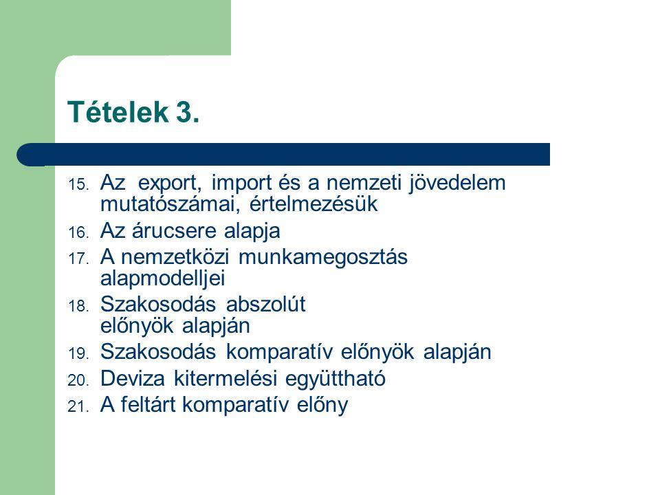 Tételek 3. 15. Az export, import és a nemzeti jövedelem mutatószámai, értelmezésük 16. Az árucsere alapja 17. A nemzetközi munkamegosztás alapmodellje