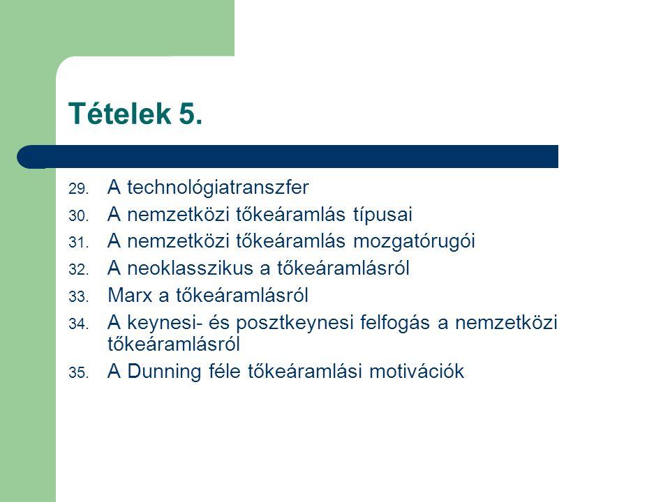 Tételek 5. 29. A technológiatranszfer 30. A nemzetközi tőkeáramlás típusai 31. A nemzetközi tőkeáramlás mozgatórugói 32. A neoklasszikus a tőkeáramlás