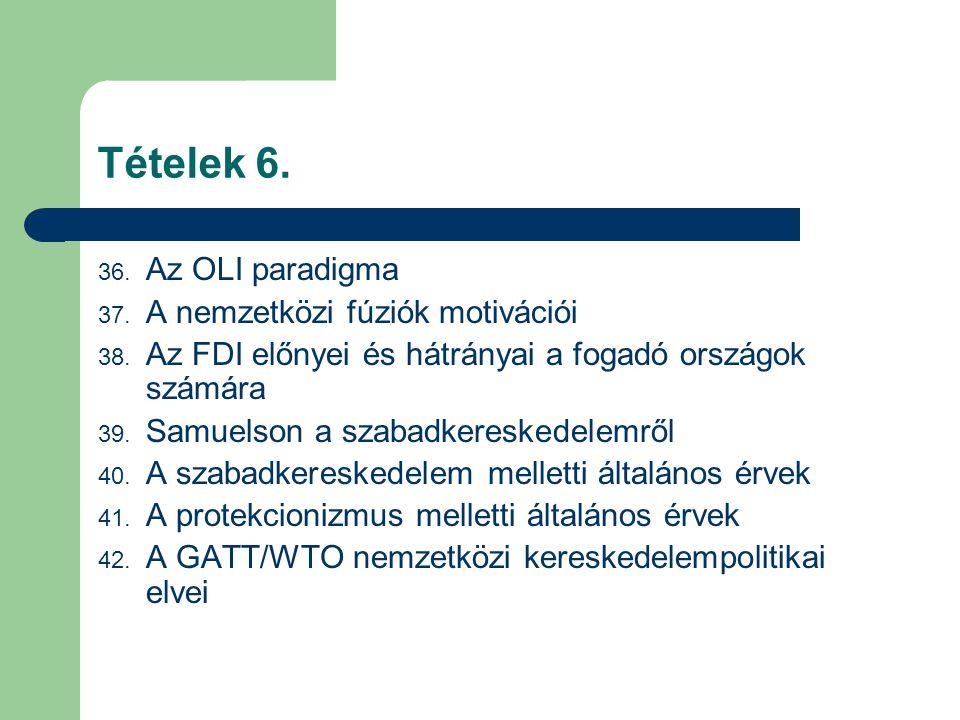 Tételek 6. 36. Az OLI paradigma 37. A nemzetközi fúziók motivációi 38. Az FDI előnyei és hátrányai a fogadó országok számára 39. Samuelson a szabadker