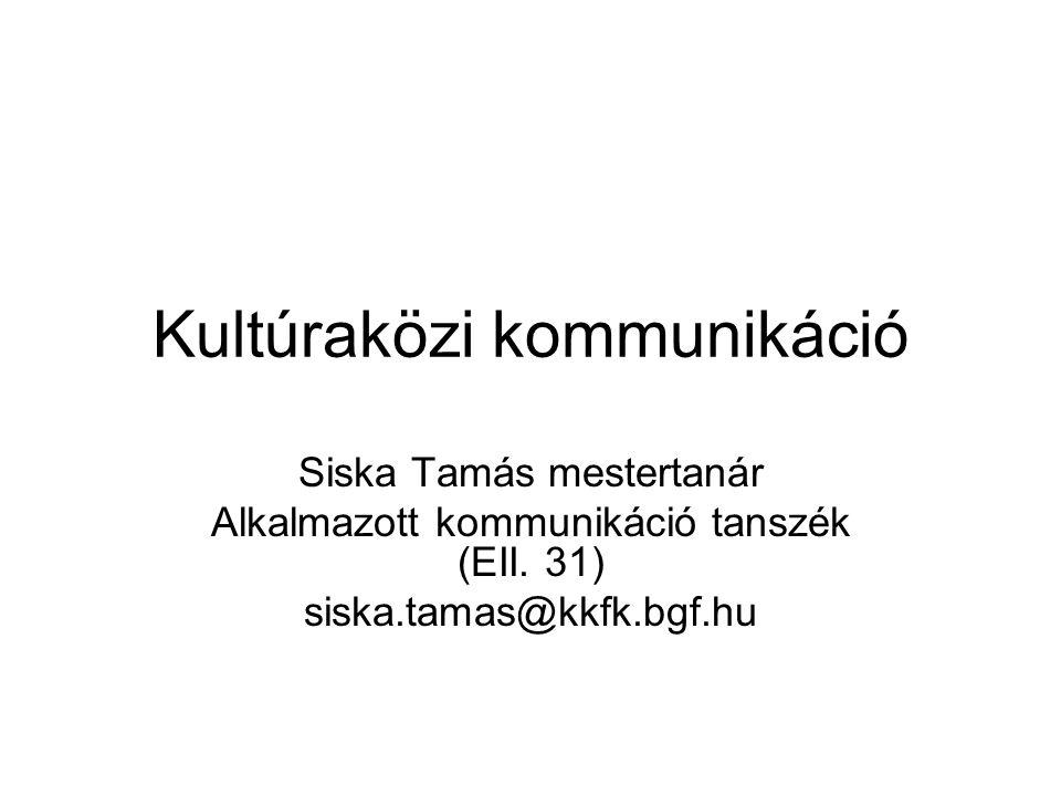 Kultúraközi kommunikáció Siska Tamás mestertanár Alkalmazott kommunikáció tanszék (EII. 31) siska.tamas@kkfk.bgf.hu