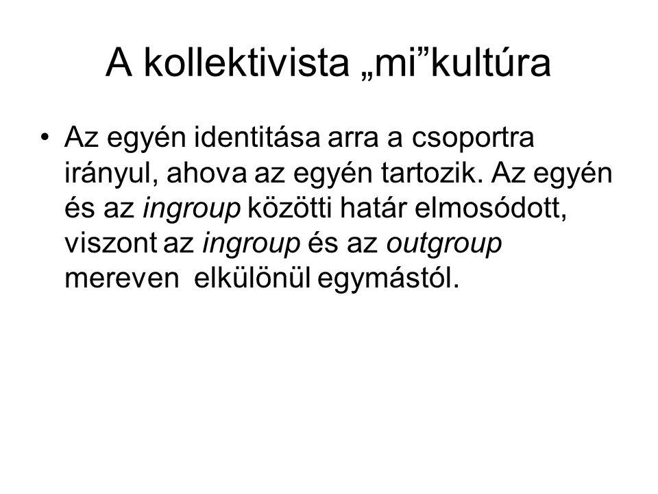 """A kollektivista """"mi""""kultúra Az egyén identitása arra a csoportra irányul, ahova az egyén tartozik. Az egyén és az ingroup közötti határ elmosódott, vi"""