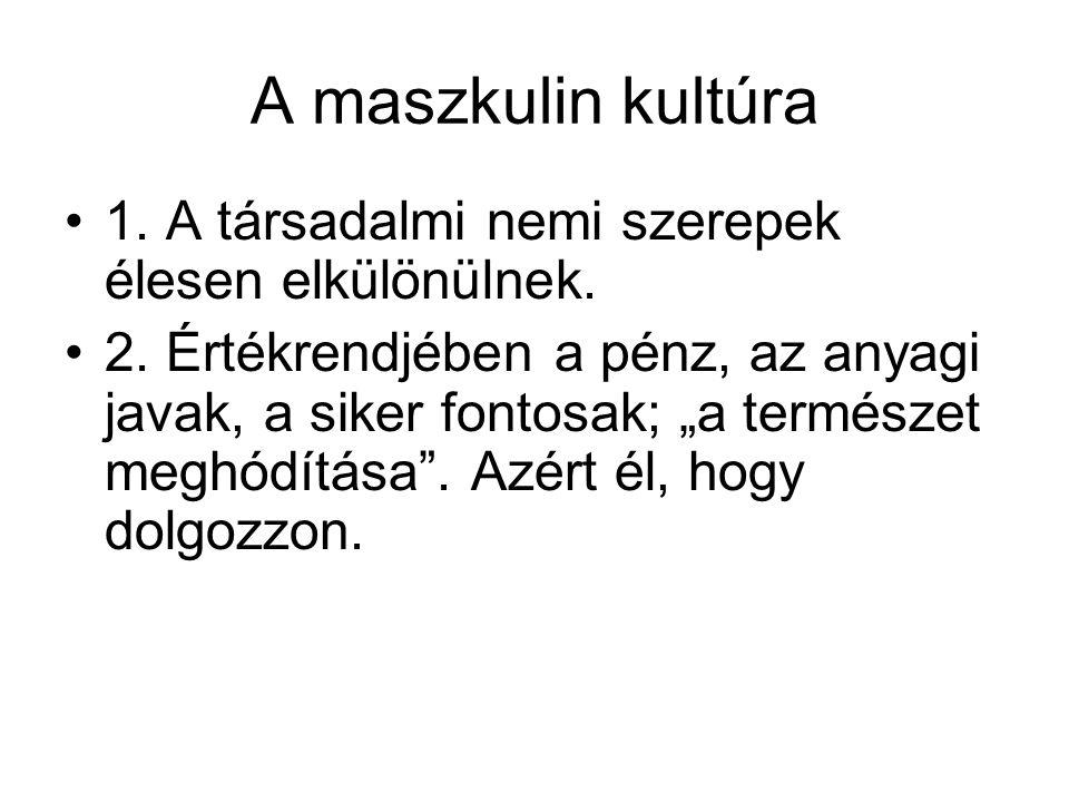 """A maszkulin kultúra 1. A társadalmi nemi szerepek élesen elkülönülnek. 2. Értékrendjében a pénz, az anyagi javak, a siker fontosak; """"a természet meghó"""