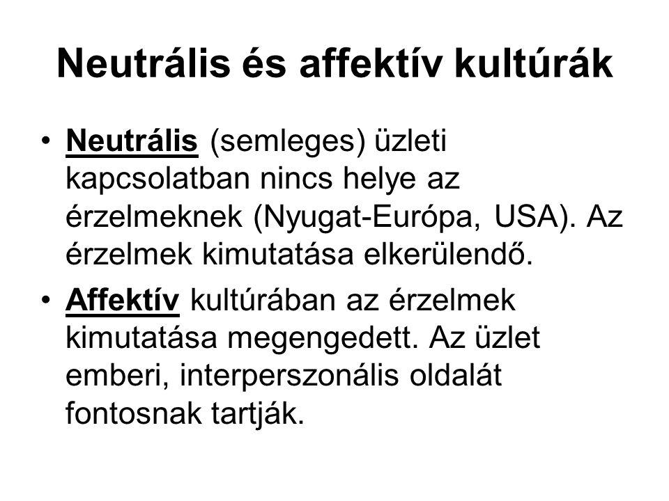 Neutrális és affektív kultúrák Neutrális (semleges) üzleti kapcsolatban nincs helye az érzelmeknek (Nyugat-Európa, USA). Az érzelmek kimutatása elkerü