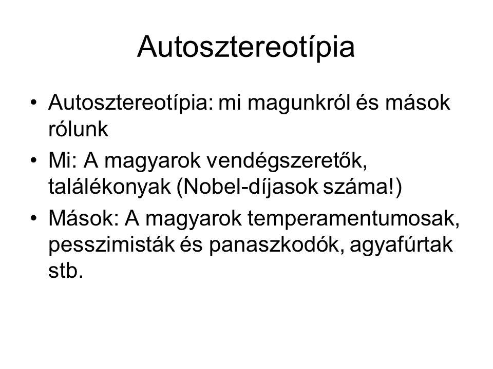 Autosztereotípia Autosztereotípia: mi magunkról és mások rólunk Mi: A magyarok vendégszeretők, találékonyak (Nobel-díjasok száma!) Mások: A magyarok t