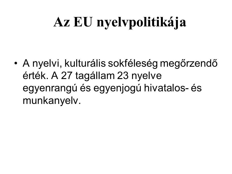 Az EU nyelvpolitikája A nyelvi, kulturális sokféleség megőrzendő érték. A 27 tagállam 23 nyelve egyenrangú és egyenjogú hivatalos- és munkanyelv.