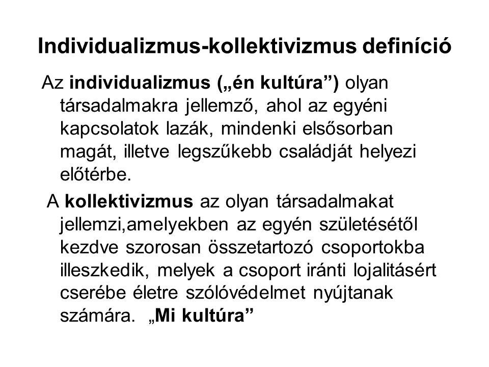 """Individualizmus-kollektivizmus definíció Az individualizmus (""""én kultúra"""") olyan társadalmakra jellemző, ahol az egyéni kapcsolatok lazák, mindenki el"""