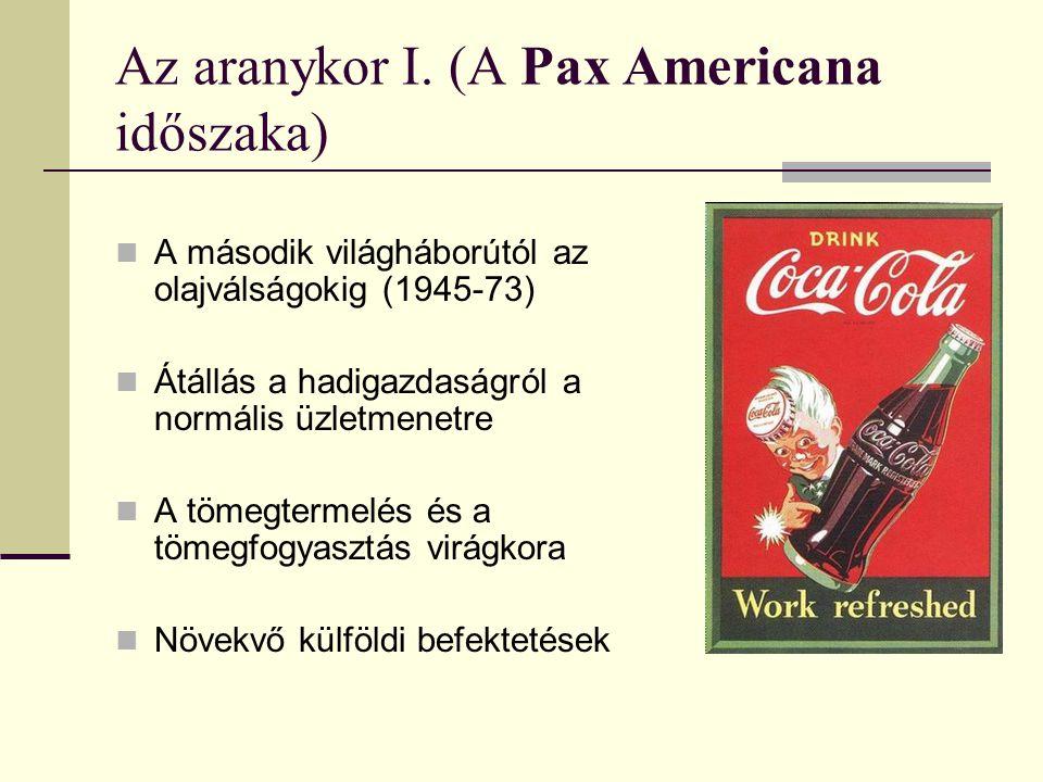Az aranykor I. (A Pax Americana időszaka) A második világháborútól az olajválságokig (1945-73) Átállás a hadigazdaságról a normális üzletmenetre A töm