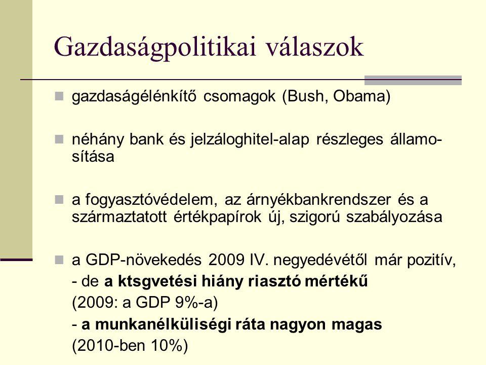 Gazdaságpolitikai válaszok gazdaságélénkítő csomagok (Bush, Obama) néhány bank és jelzáloghitel-alap részleges államo- sítása a fogyasztóvédelem, az á