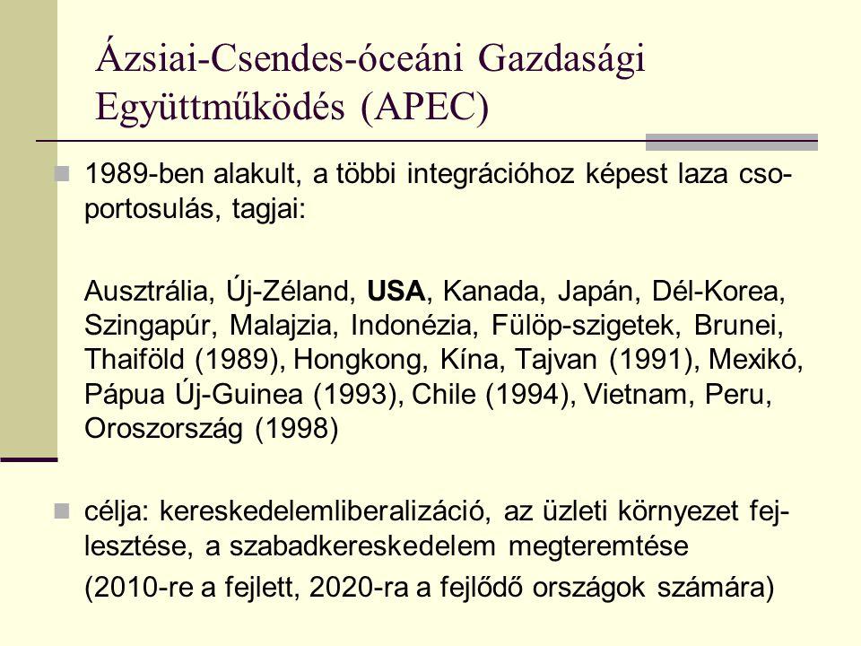 Ázsiai-Csendes-óceáni Gazdasági Együttműködés (APEC) 1989-ben alakult, a többi integrációhoz képest laza cso- portosulás, tagjai: Ausztrália, Új-Zéland, USA, Kanada, Japán, Dél-Korea, Szingapúr, Malajzia, Indonézia, Fülöp-szigetek, Brunei, Thaiföld (1989), Hongkong, Kína, Tajvan (1991), Mexikó, Pápua Új-Guinea (1993), Chile (1994), Vietnam, Peru, Oroszország (1998) célja: kereskedelemliberalizáció, az üzleti környezet fej- lesztése, a szabadkereskedelem megteremtése (2010-re a fejlett, 2020-ra a fejlődő országok számára)