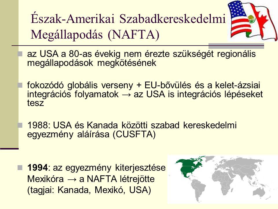 Észak-Amerikai Szabadkereskedelmi Megállapodás (NAFTA) az USA a 80-as évekig nem érezte szükségét regionális megállapodások megkötésének fokozódó globális verseny + EU-bővülés és a kelet-ázsiai integrációs folyamatok → az USA is integrációs lépéseket tesz 1988: USA és Kanada közötti szabad kereskedelmi egyezmény aláírása (CUSFTA) 1994: az egyezmény kiterjesztése Mexikóra → a NAFTA létrejötte (tagjai: Kanada, Mexikó, USA)