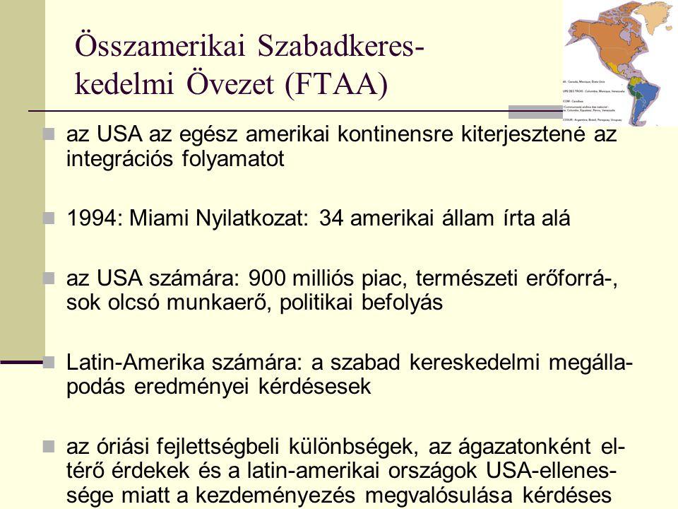 Összamerikai Szabadkeres- kedelmi Övezet (FTAA) az USA az egész amerikai kontinensre kiterjesztené az integrációs folyamatot 1994: Miami Nyilatkozat: