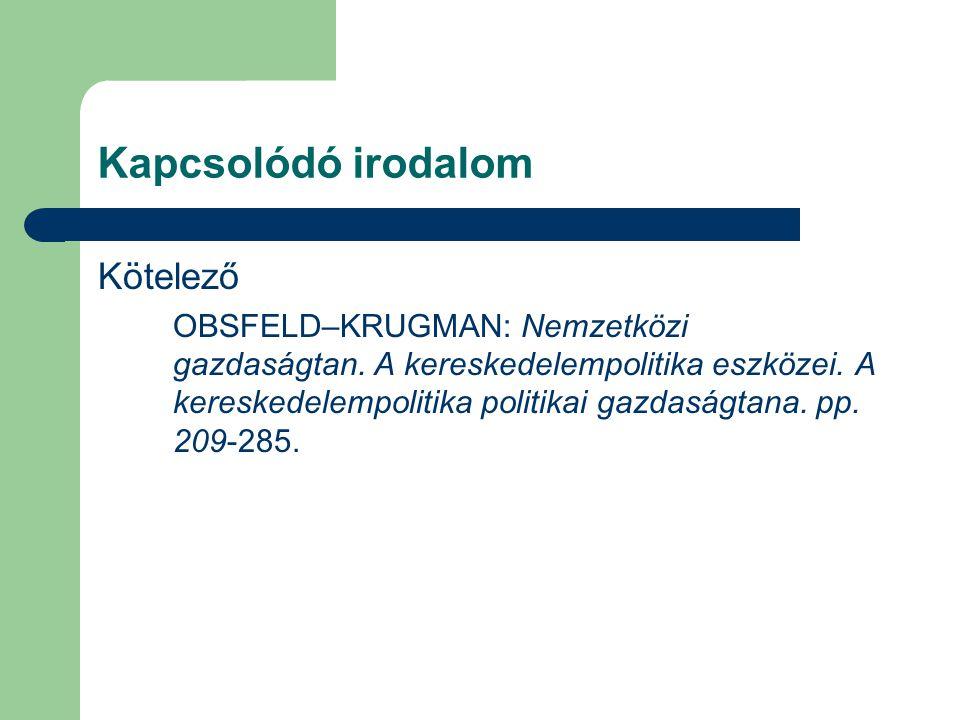 Kapcsolódó irodalom Kötelező OBSFELD–KRUGMAN: Nemzetközi gazdaságtan. A kereskedelempolitika eszközei. A kereskedelempolitika politikai gazdaságtana.