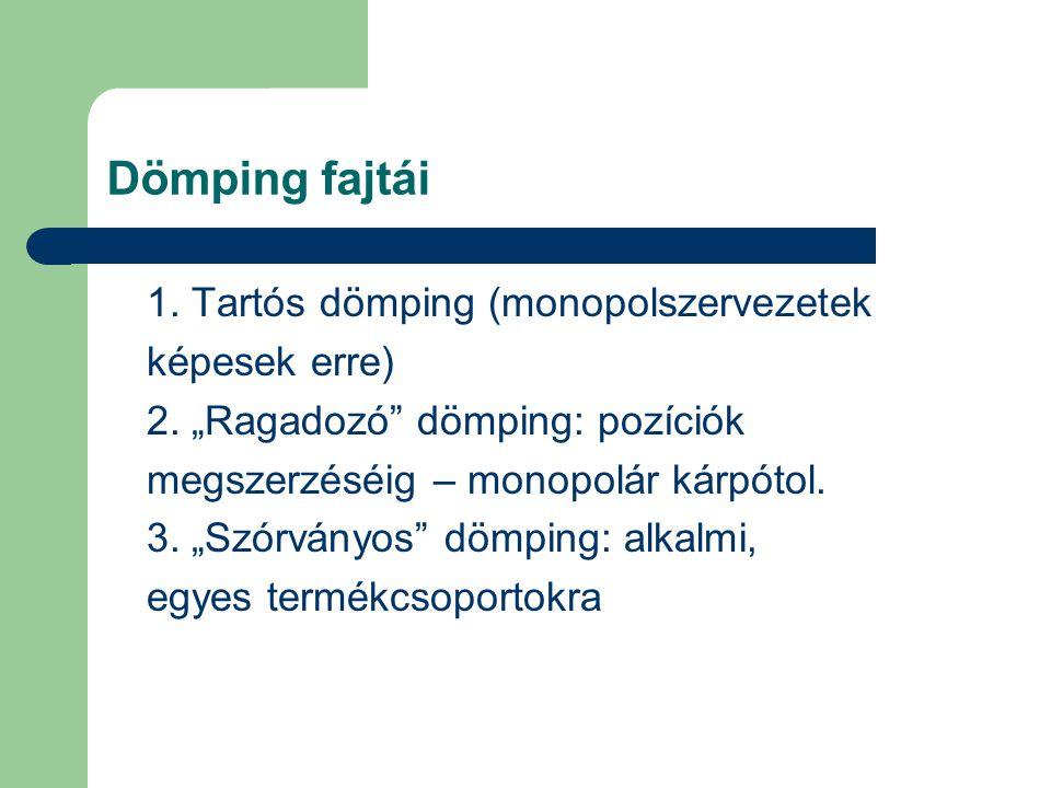 """Dömping fajtái 1. Tartós dömping (monopolszervezetek képesek erre) 2. """"Ragadozó"""" dömping: pozíciók megszerzéséig – monopolár kárpótol. 3. """"Szórványos"""""""
