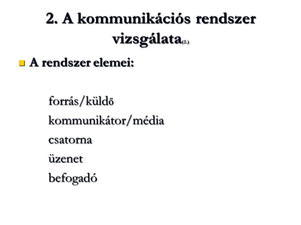 2. A kommunikációs rendszer vizsgálata (2.) A rendszer elemei: A rendszer elemei: forrás/küld ő kommunikátor/médiacsatornaüzenetbefogadó