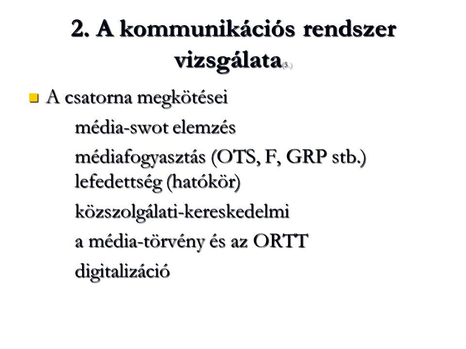 2. A kommunikációs rendszer vizsgálata (5.) A csatorna megkötései A csatorna megkötései média-swot elemzés médiafogyasztás (OTS, F, GRP stb.) lefedett