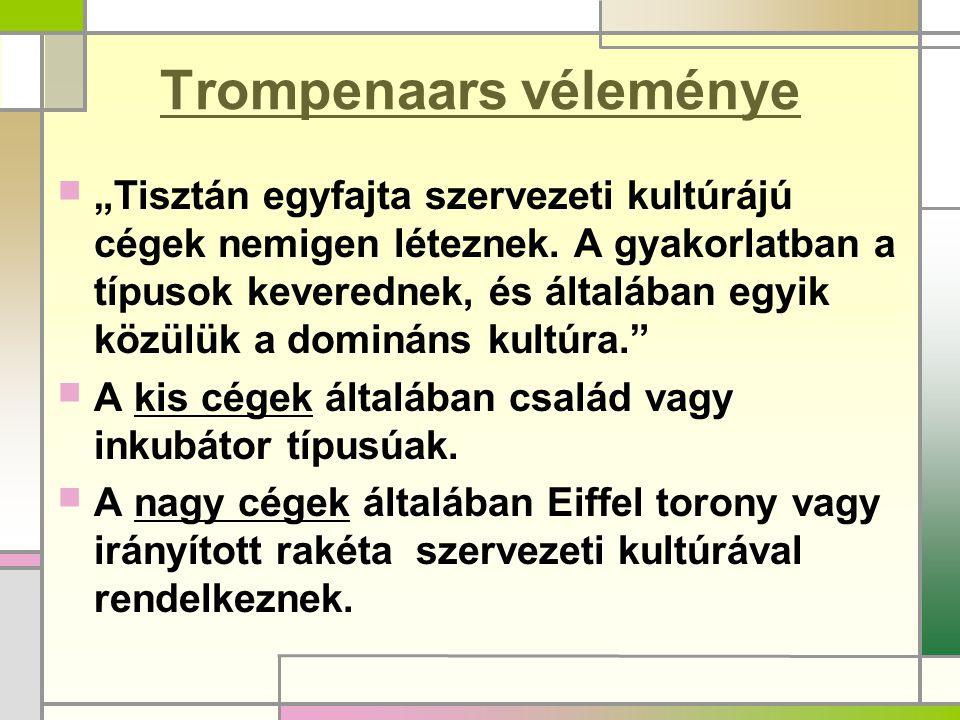 """Trompenaars véleménye """"Tisztán egyfajta szervezeti kultúrájú cégek nemigen léteznek."""