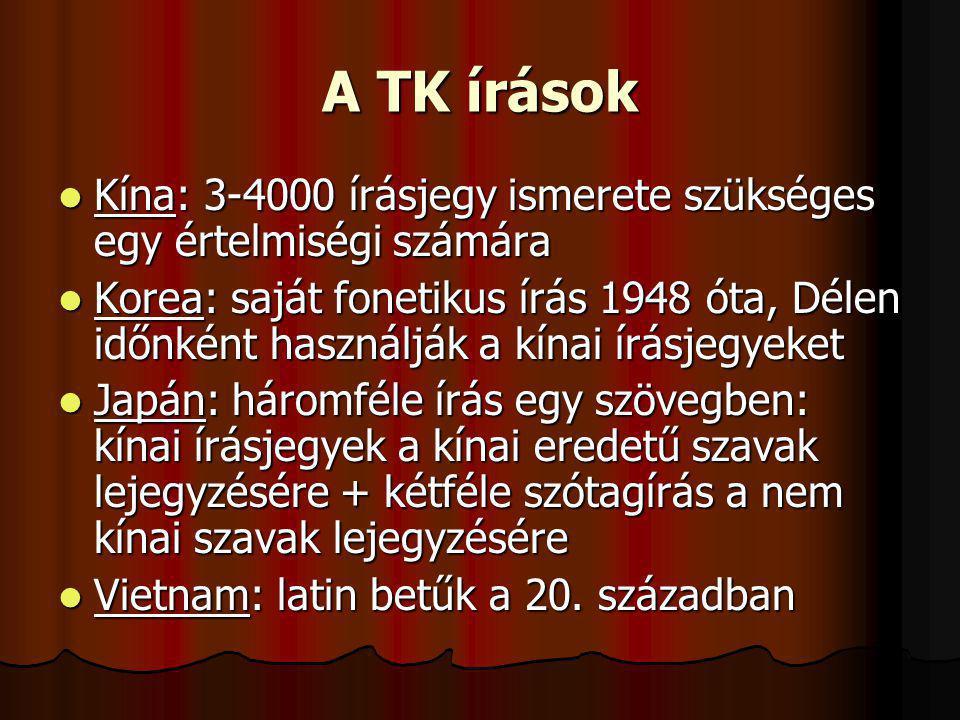 A TK írások Kína: 3-4000 írásjegy ismerete szükséges egy értelmiségi számára Kína: 3-4000 írásjegy ismerete szükséges egy értelmiségi számára Korea: s
