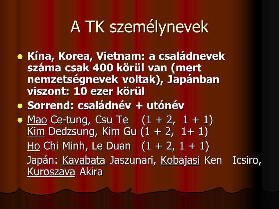 A TK személynevek Kína, Korea, Vietnam: a családnevek száma csak 400 körül van (mert nemzetségnevek voltak), Japánban viszont: 10 ezer körül Kína, Kor