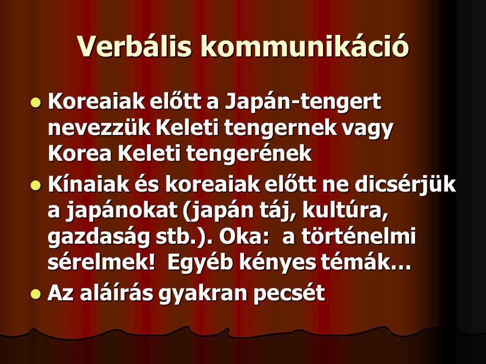 Verbális kommunikáció Koreaiak előtt a Japán-tengert nevezzük Keleti tengernek vagy Korea Keleti tengerének Koreaiak előtt a Japán-tengert nevezzük Ke