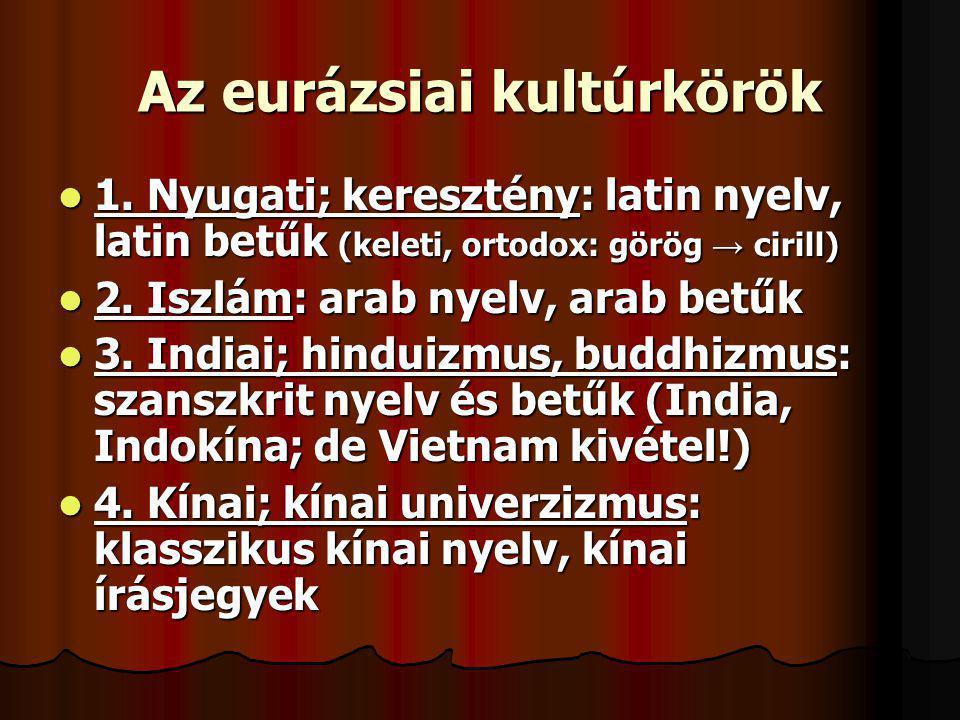 Az eurázsiai kultúrkörök 1. Nyugati; keresztény: latin nyelv, latin betűk (keleti, ortodox: görög → cirill) 1. Nyugati; keresztény: latin nyelv, latin